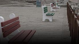 Benches at a scenic place