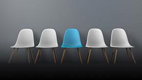 Symbolizing Odd-1-Out using 4 white and 1 blue chair